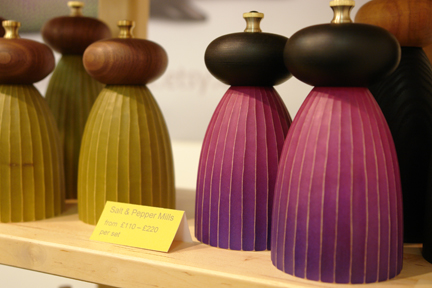 display of Louise Hibbert's coloured wooden salt & pepper mills