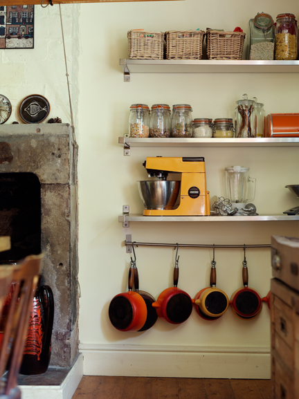 Vintage orange Kenwood mixer on a shelf in H is for Home's kitchen