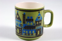 vintage Hornsea Pottery mug with buildings