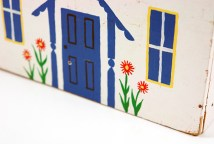 detail of blue vintage wooden house