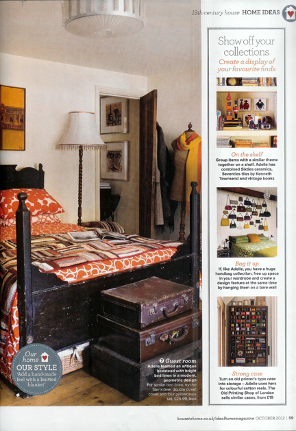 cutting from October 2012 Ideal Home magazine featuring a bedroom in our house