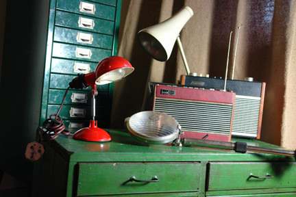 selection of industrial vintage home, office &amp; factory items including filing cabinets, lamps and radios