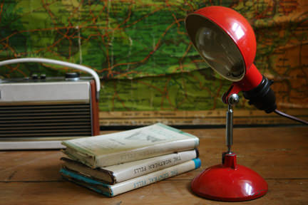 vintage industrial red desk lamp