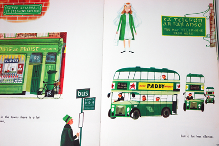"page from vintage book, ""This is Ireland"" by Miroslav Sasek featuring Irish green double-decker buses"