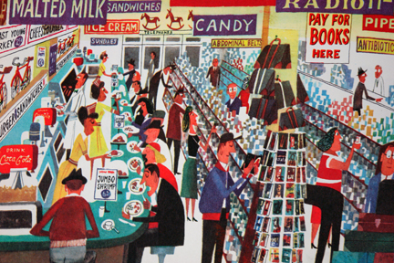 """page from vintage book, """"This is New York"""" by Miroslav Sasek featuring an all Ameriacan diner"""