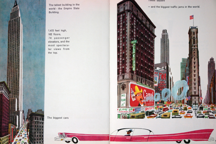 "page from vintage book, ""This is New York"" by Miroslav Sasek featuring skyscrapers and pink stretch Cadillac"