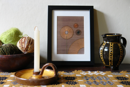 framed artwork by Jane Blease with slipware jug by Hannah McAndrew