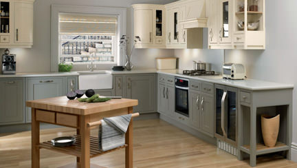 modern kitchen with small, square butcher's trolley