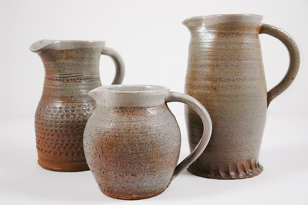 trio of handmade salt glaze jugs by Damian Keefe