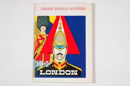 vintage 1960s Trans World Service menu cover depicting two horse guards in helmet and bearskin