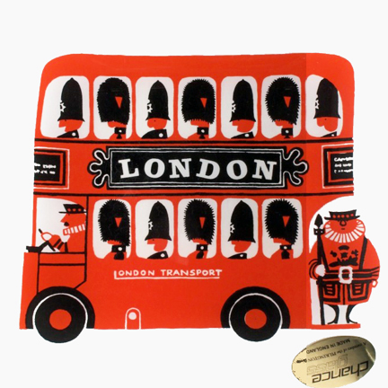 vintage Chance Glass dish depicting a London double-decker bus designed by Kenneth Townsend