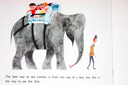 "illustration of an elephant in London view taken from vintage ""This is London"" book by Miroslav Sasek"