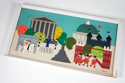 vintage felt artwork of London scenes