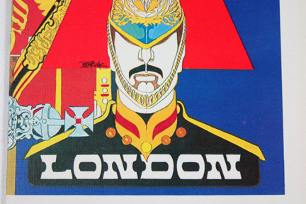 detail of vintage Trans World Airlines menu depicting a Coldstream guard and London banner
