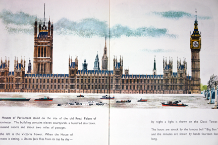 "illustration of the Parliament buildings from vintage ""This is London"" book by Miroslav Sasek"