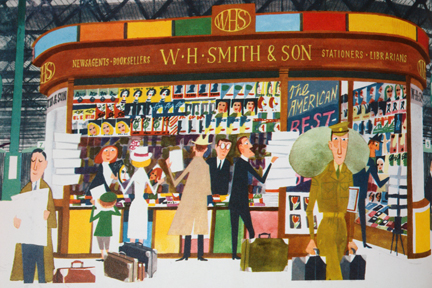 illustration of Smiths the newsagents from vintage &quot;This is London&quot; book by Miroslav Sasek