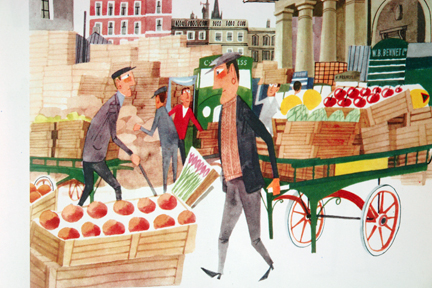 illustration of vegetable traders in Covent Garden market taken from vintage &quot;This is London&quot; book by Miroslav Sasek