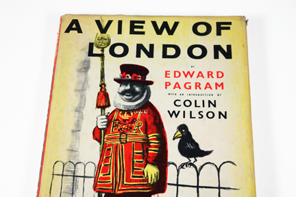 detail of cover of vintage book entitled &quot;A View of London&quot; by Edward Pagram showing a Beefeater and a raven