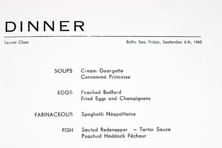 menu items on the Polish Ocean Lines dinner menu