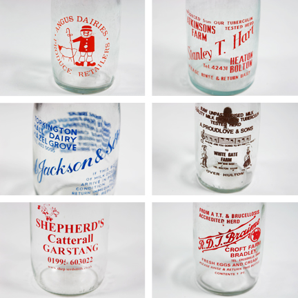 mosaic of images of vintage milk bottles