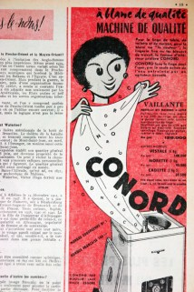 "Stove advertisement from a vintage 1950s French ""L'Echo de la Mode"" magazine"