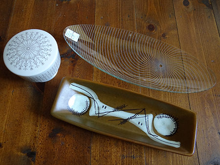 collection of vintage pottery and Chance Glass dish via @hisforhome