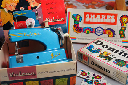 child's blue Vulcan sewing machine and other children's games soon to be available on the H is for Home webshop