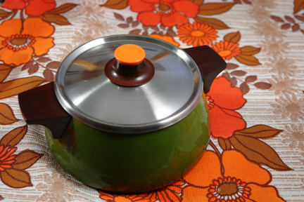 olive green vintage lidded saucepan soon to be available on the H is for Home webshop