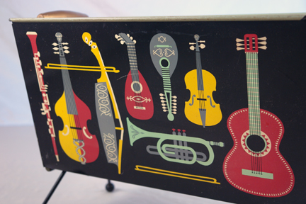 vintage 1950s Worcesterware record holder decorated with musical instruments
