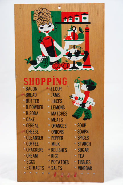 vintage 1950s wooden shopping list reminder board