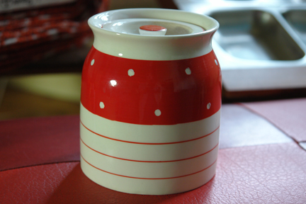 vintage red & white polka dot Kirkham Pottery lidded pot
