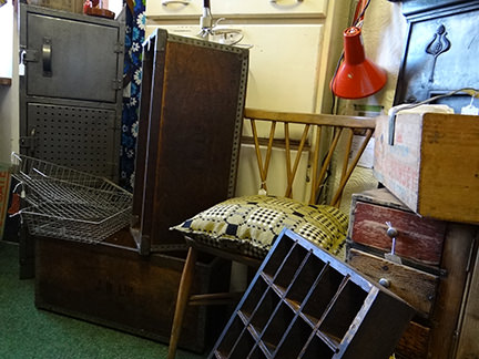 selection of vintage industrial homewares in the H is for Home space at Picture House Antiques