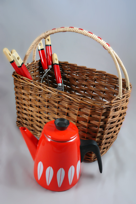 selection of recently acquired vintage shop stock for H is for Home including a red orange & white Cathrineholm Lotus enamel kettle, selection of Skyline kitchen utensils and wicker shopping basket
