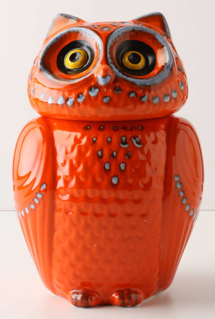 bright orange ceramic owl available from Anthropologie