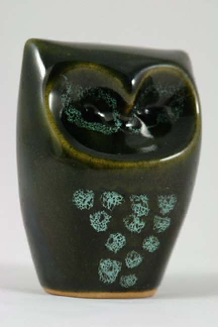 green glazed vintage owl figure produced by Lotus Pottery