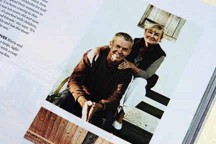 "page from the ""Artistic Idyll"" feature showing the home owners from the launch issue of Elle Decoration Country"