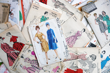 collection of vintage 1950s-1970s fashion paper patterns