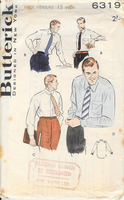 vintage paper pattern for a men's shirt