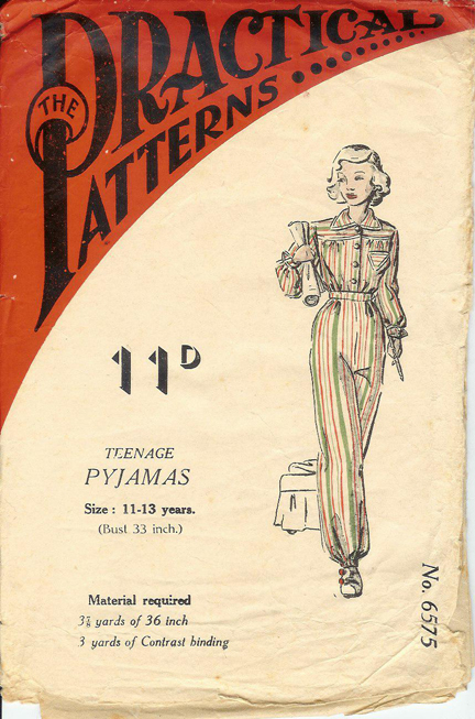 "vintage 1950s ""Practical Patterns"" paper pattern for a teenager's pajama set"
