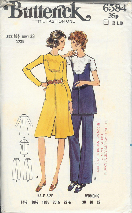 vintage 1970s Butterick paper pattern for women's shirt dress, tunic and trousers