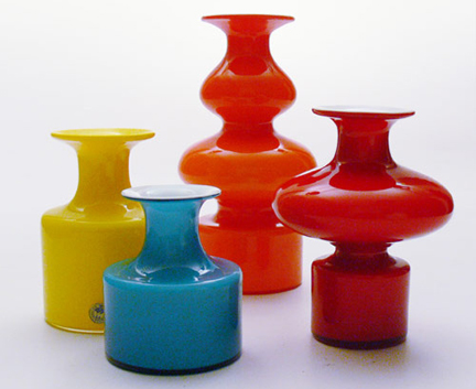 collection of colourful 'Carnaby' vases designed by Per Ltken for Holmegaard