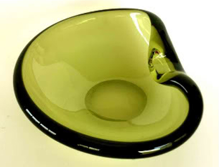 green glass bowl designed by Per Lütken for Holmegaard