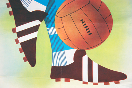 detail from vintage Sunday Express newspaper stand poster illustrating 'Soccer'