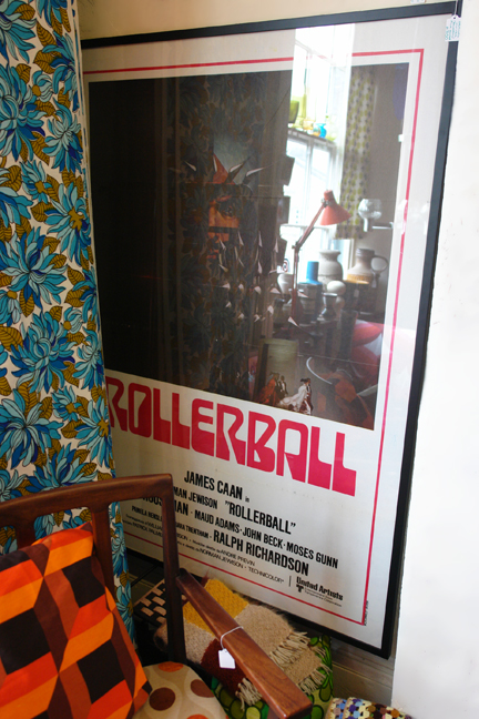 Framed original vintage 1970s 'Rollerball' film poster
