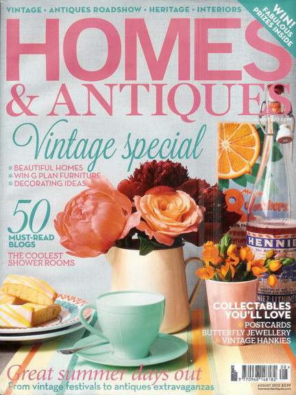 August 2012 Homes & Antiques magazine cover
