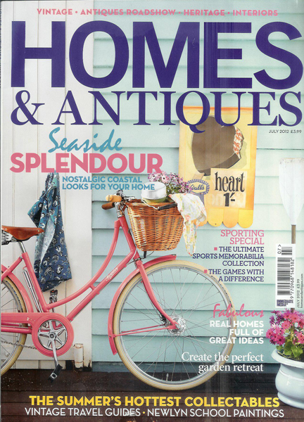 July 2012 Homes & Antiques magazine cover