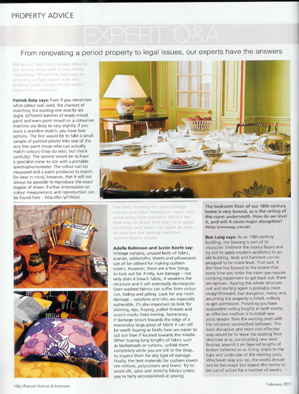 February 2011 Period Homes & Interiors magazine cutting