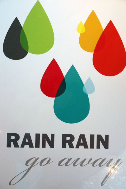 Rain rain, go away poster designed by Dee Dee Adams