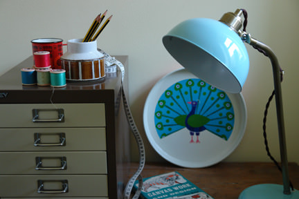 retro John Lewis goose neck aqua desk lamp with selection of vintage items
