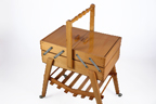 vintage wooden sewing box on legs with castors